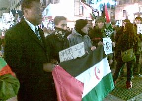 Faustino Ondó, Presidente de UP, en una manifestación en apoyo del pueblo saharaui (Foto de archivo )
