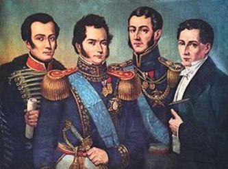 Los fundadores de la República: José Miguel Carrera, Bernardo O'Higgins, José de San Martín y Diego Portales.