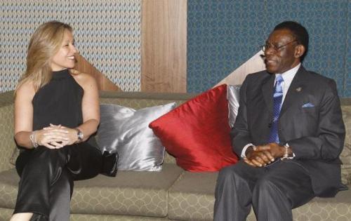 Trinidad Jimenez y Teodoro Obiang Nguema (Foto Exteriors/EFE)