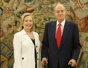 El Rey Juan Carlos I y Hilaria Clinton (Foto La Zarzuela)