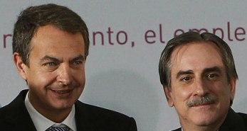 Zapatero y Valeriano Gçomez, ministro de Trabajo