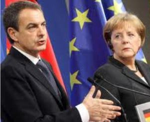 Zapatero con su jefa, Angela Merkel