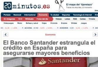 El Banco Santander estrangula el crédito  en España para asegurase mayores beneficios