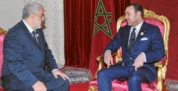 El primer ministro, Abdelilá Benkirane, y el rey Mohamed VI