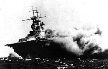 Portaviones invencible, destruido por la Aviación Naval Argentina