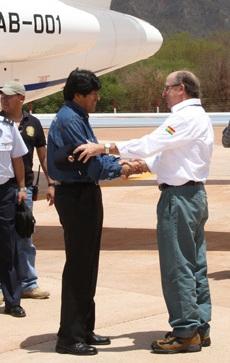 Antoni Brufau, presidente de REPSOL, y Evo Morales, Presidente de Bolivia