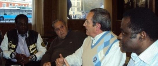Faustino Ondó, Javier Perote, Diego Camacho y Weja Chicampo