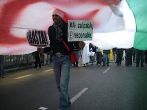 Manifestación hispano-saharaui en Madrid con motivo de uno de los aniversarios de la vergonzosa  entrega del Sáhara a Marruecos