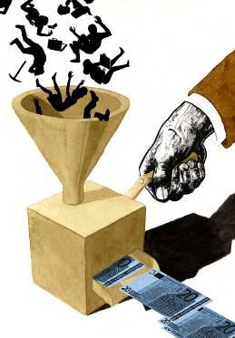 Fábrica de dinero (Dibujo de Economía en una lección)
