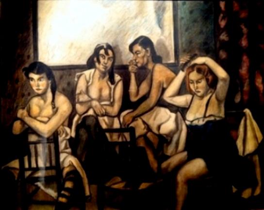 Jose Gutierrez Solana, mujeres de la Casa del Arrabal, hacia 1931-1934. Dibujo al pastel