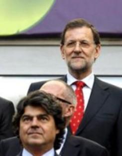 Rajoy en Polonia viendo el partido de fútbol entre Italia y España