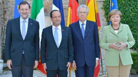 Rajoy, Hollande, Monti y Merkel . Foto Moncloa