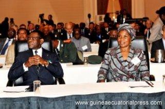 Obiang y su mujer en Estados Unidos (Foto propiedad de la Oficina de Información del Gobierno de Guinea Ecuatorial)