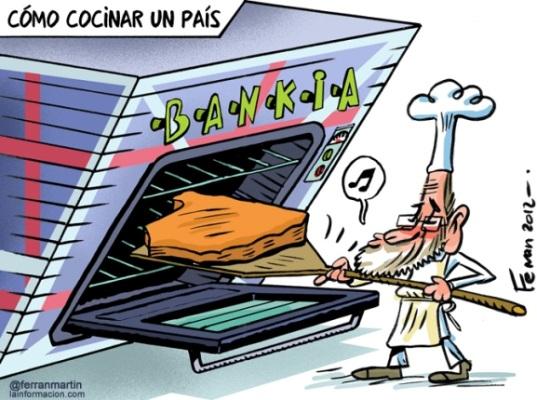 El humor de JR Mora en ´La Información.com´, plasma  la cruda realidad en la que se encuentra inmersa España: Como cocinar un país.