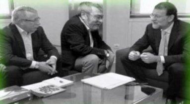 Toxo (CC.OO), Méndez (UGT), y Rajoy (Gobierno de España)
