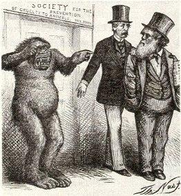 Viñeta publicada en la prensa londinense que ridiculiza las teorías de Darwin