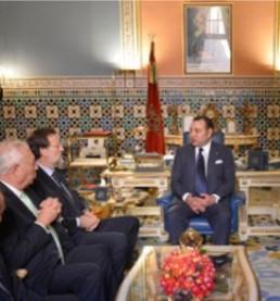 De izquierda a derecha, García-Margallo, Rajoy y Mohamed VI