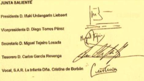 Firma de la Infanta Cristina