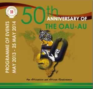 Cartel de la cumbre en Addis Abeba  que ha celebrado el 50º aniversario de la creación de la OUA