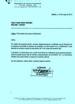 Carta de despido de la empresa  SEGUIBAT, a Fabian Nsue