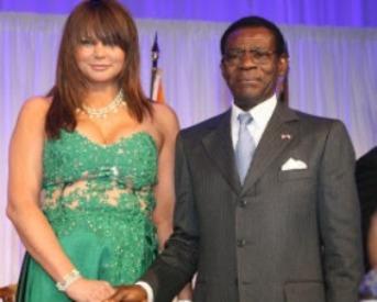 Sullivan (hija del fundador de la Fundación Sullivan) y Teodoro Obiang Nguema