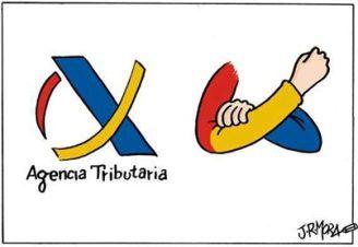 Logotipo de la Agencia Tributaria, según el dibujante Mora.