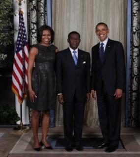 Los Obama con Obiang