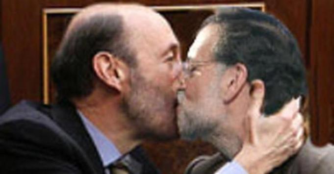 Rubalcaba y Rajoy sellan El Pacto (Desconocemos la autoria de la composicion fotografica)