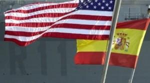 La bandera de USA y España