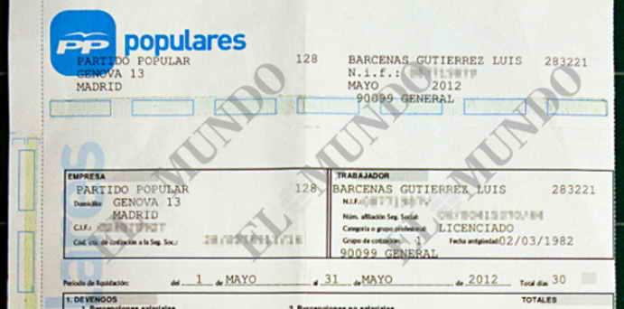 Nómina de Bárcenas (Documento aportado por el diario El Mundo)