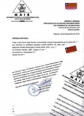 Carta del MAIB al Congreso de los Diputados