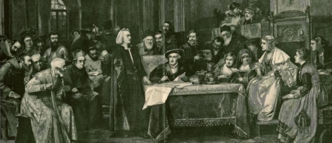 Cristóbal Colón ante la reina Isabel. La ilustración es un fragmento de un grabado de Baude sobre un cuadro de Brozik.