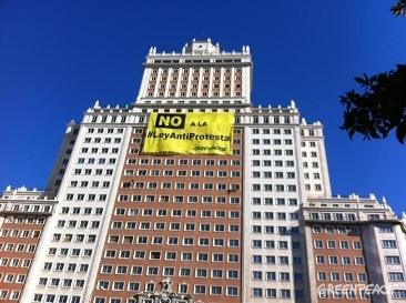 Greempeace protesta en Madrid  contra la Ley de Seguridad Ciudadana