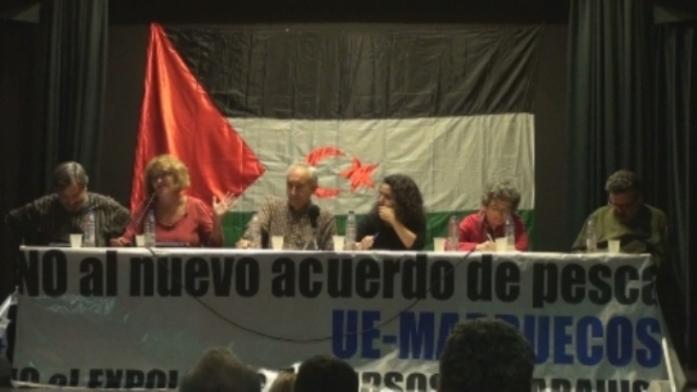 De izquierda a derecha. Manuel Calvente, Ana Camacho, Eugenio Pordomingo, Trinidad Deiros, Yolanda Sobero y Federico Echanove, en las Jornadas sobre el Acuerdo de Pesca UE-Marruecos