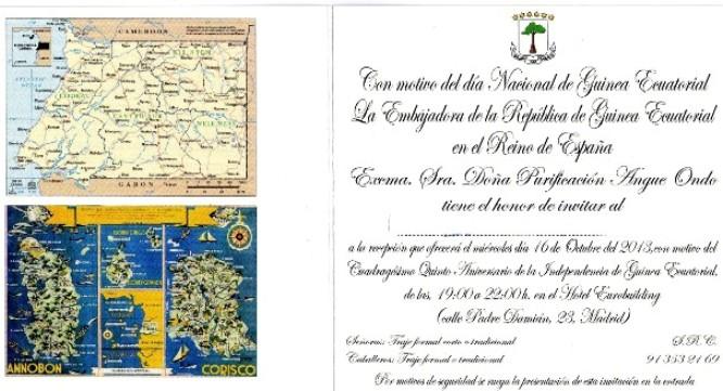 Invitacion Embajada de Guinea Ecuatorial en Madrid