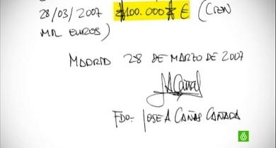 Recibo de 24.000 euros que firmó el gerente del PP de Castilla La Mancha