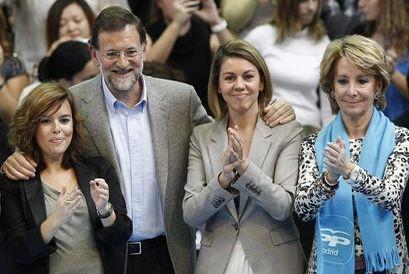 Sáenz de Santamaría, Rajoy, Cospedal y Aguirre