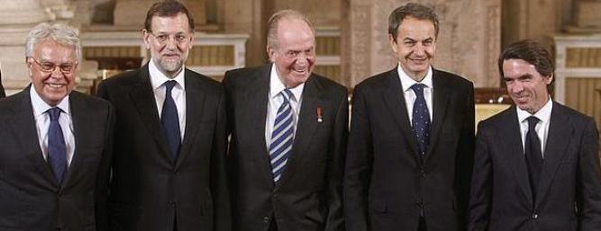 """González, Rajoy, el ex rey de España, Zapatero y Aznar, los """"hacedores"""" de la España actual"""