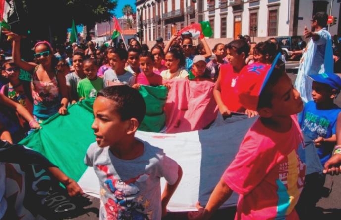 Manifestación en favor del pueblo saharaui en Santa Cruz de Tenerife