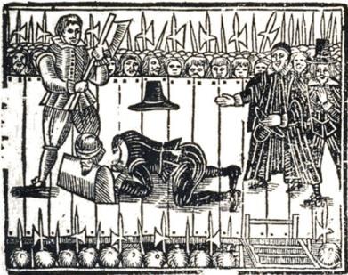 Ilustración anónima del momento de la decapitación de Carlos I