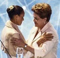 Rousseff y Silva durante  un debate televisivo