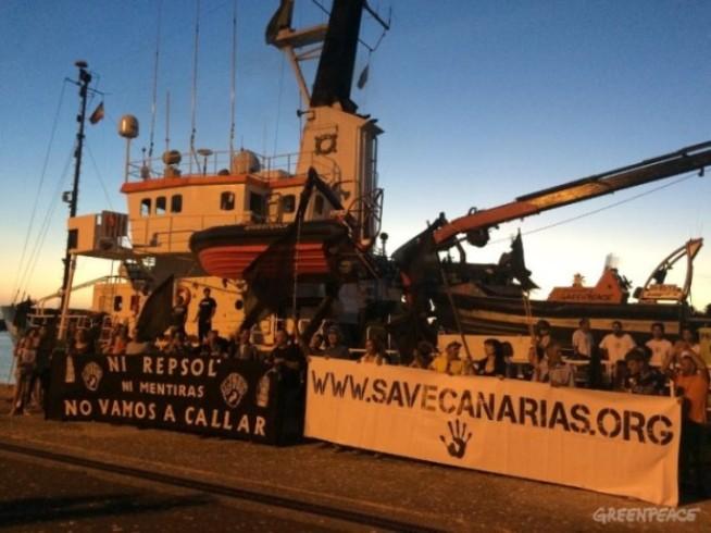 Repsol y el Gobierno de España contra la voluntad del pueblo canario. Foto: Greempeace.