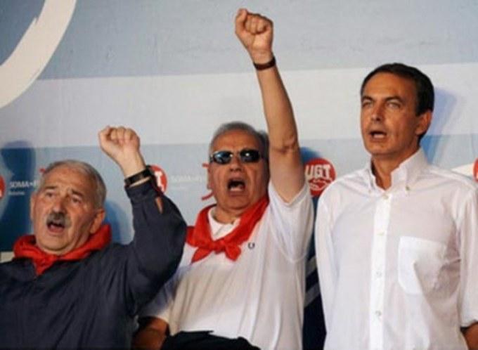 José Ángel Fernández Villa, Alfonso Guerra y José Luis Rodríguez Zapatero