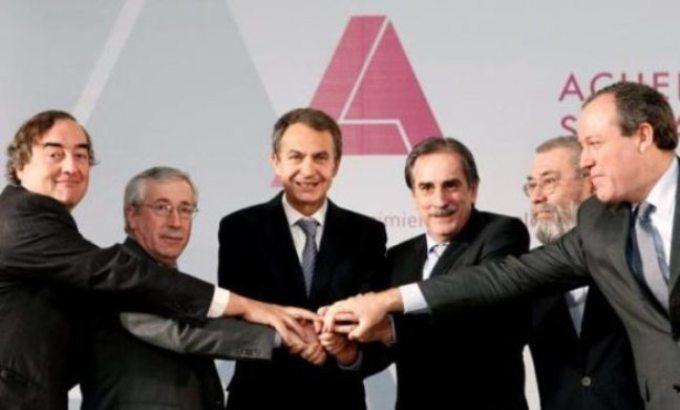 Zapatero con UGT, CC.OO., CEOE y CEPYME