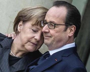 Merkel y Hollande compungidos.