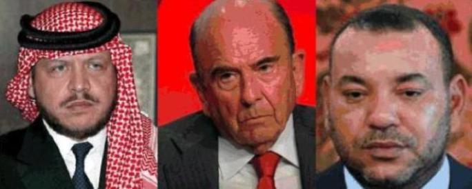 Abdalá II rey de Jordania, Mohamed VI, rey de Marruecos y el banquero Emilio Botín