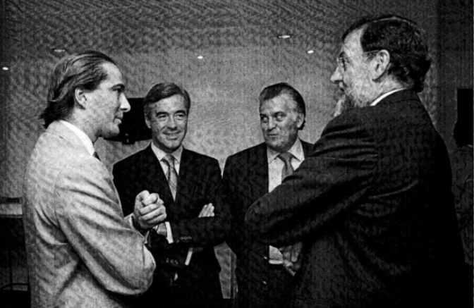 El arquitecto Urquijo (izquierda), junto a Acebes, Bárcenas y Rajoy en un encuentro en la sede del PP.Foto EL MUNDO