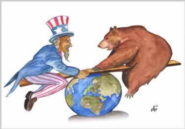 Rusia-Estados Unidos  (desconocemos al autor del dibujo).)