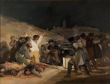 Cuadro de Goya: las tropas de Napoleón fusilan a indefensos ciudadanos en Madrid (España).