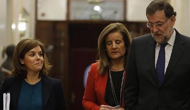 Soraya Sáenz de Santamaría, Fátima Báñez y Mariano Rajoy